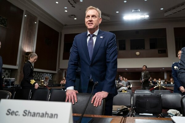 Acting Defense Secretary Patrick Shanahan goes before the Senate Armed Services Committee to discuss the Department of Defense budget, on Capitol Hill in Washington, Thursday, March 14, 2019. (J. Scott Applewhite/AP)