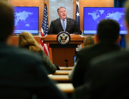 Secretary of State Mike Pompeo speaking during a news conference at the State Department in Washington, Tuesday, Nov. 20, 2018. (Pablo Martinez Monsivais/AP)