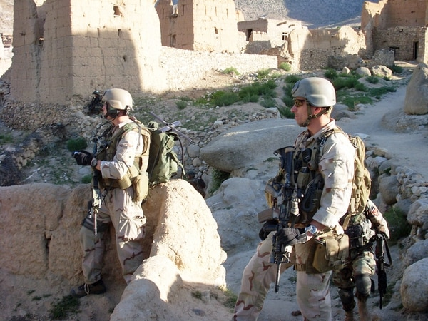 Members of ODA 3336, 3rd Special Forces Group, recon the remote Shok Valley of Afghanistan where they fought an almost seven-hour battle with insurgents in a remote mountainside village. (Sgt. David N. Gunn/Army)