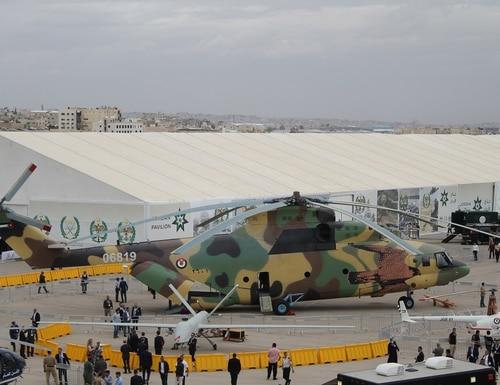 Russia and China took the center ring at the exposition with Russia's Mi-26 Halo being the undeniable star of SOFEX 2018. (Jen Judson/Defense News)