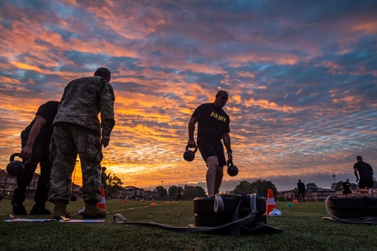 Command Sgt. Maj. Ted Copeland, command sergeant major of the U.S. Army Reserve, performs the sprint-drag-carry event for a practice Army Combat Fitness Test (ACFT) at Fort Eustis, Va., Oct. 25, 2019, during the Army Reserve Senior Enlisted Council. (Master Sgt. Michel Sauret/Army Reserve)