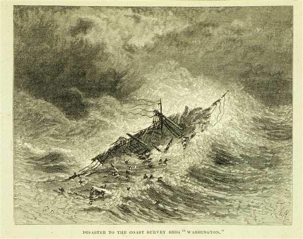 Between 1838 and 1848 the U.S. Revenue Cutter Service coast survey brig Peter G. Washington was transferred to the Navy. While conducting gulf stream studies, it encountered the hurricane of Sept. 8, 1846, killing the commanding officer and 10 others. (Harper's New Monthly Mag. Vol-Vlll. p.512)