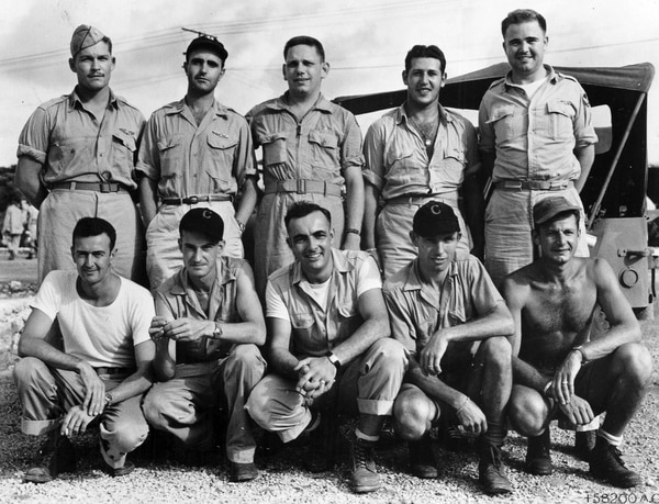 The crew of the Bockscar aircraft, who flew the atomic bomb code-named