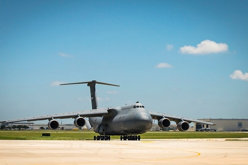 The 433rd Airlift Wing receives its first C-5M Super Galaxy during a special transfer ceremony in June 2016 at Joint Base San Antonio-Lackland, Texas. (Benjamin Faske/Air Force)