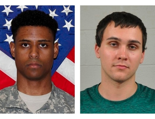 This combination of photos provided by the U.S. Army and the University of Maryland Police Department shows Richard Collins III, left, and Sean Urbanski. (U.S. Army, University of Maryland Police Department via AP, File)