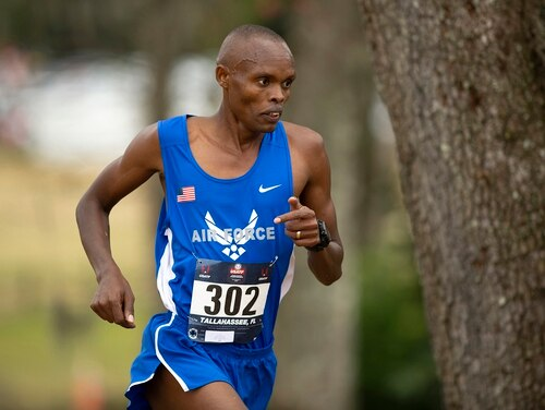 Air Force Airman 1st Class Daniel Kirwa competes in the 2019 Armed Forces Cross Country Championship and simultaneously the 2019 USA Track and Field Cross Country Championship in Tallahassee, Fl. Feb. 2, 2019. (DoD photo by EJ Hersom)