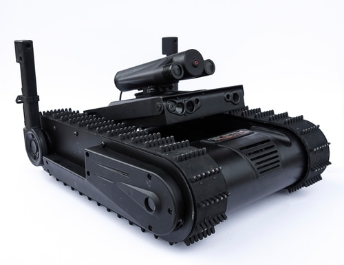The new module for General Robotics' DOGO robot allows forces to stun adversaries remotely through the use of temporary blinding agents, reducing the risk of inadvertent lethal injuries to a target or bystanders. (General Robotics)