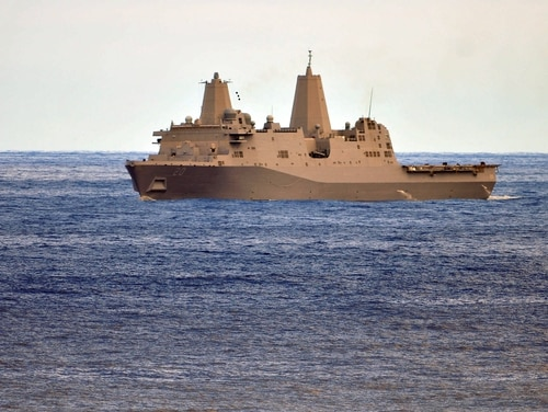 The amphibious transport dock ship Green Bay is seen underway on Feb. 24, 2011, in the Pacific Ocean. (Mass Communication Specialist 3rd Class Trevor Welsh/Navy)