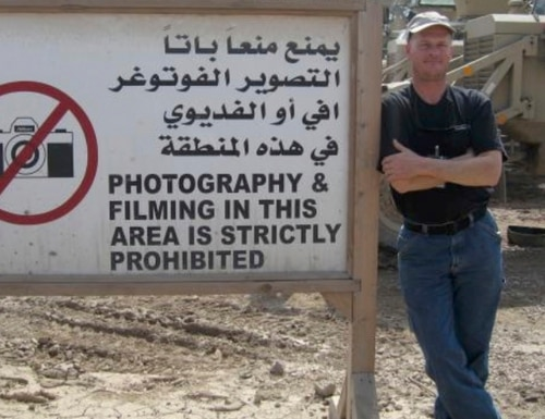 Mark Frerichs, a contractor from Illinois, poses in Iraq in this undated photo obtained from Twitter that he would include with his resume when job hunting. Frerichs was abducted in Afghanistan in January 2020. (Twitter via AP)