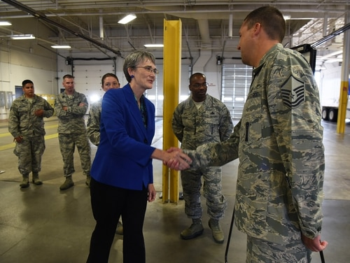Secretary of the Air Force Heather Wilson shakes hands with Master Sgt. Chad Trageser during her tour Aug. 8, 2018, at F.E. Warren Air Force Base, Wyo. (Senior Airman Breanna Carter/U.S. Air Force)