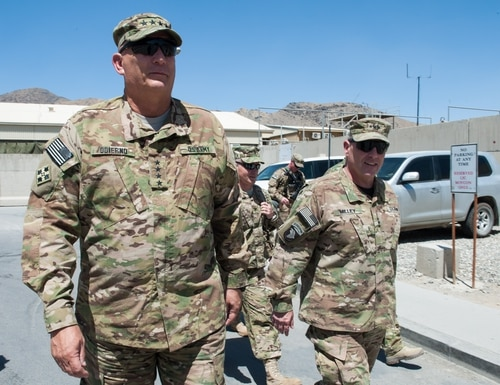 Then-Lt. Gen. Mark Milley, right, then the commander of U.S. forces in Afghanistan, escorted then-Army Chief of Staff Gen. Ray Odierno on a visit to Kabel in 2013. (Staff Sgt. Steve Cortez/Army)
