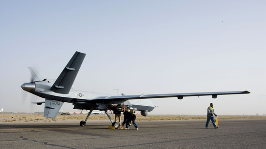 AI tools, like Project Maven, are being built to help parse the information collected by drones like this. (Michael Meredith/U.S. Air Force)