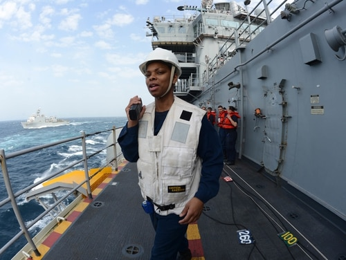 Chief Boatswain's Mate Kathy Tonnah, shown here as a petty officer 1st class in 2015, is headed to a court-martial trial next month for allegedly stealing Versace body lotion from a Florida Navy Exchange. Her attorney contends Tonnah didn't steal anything. (Navy)