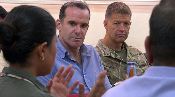 Brett McGurk, Special Presidential Envoy for the Global Coalition to Defeat ISIS, alongside U.S. Army Maj. Gen. James B. Jarrard, Commanding General of Special Operations Joint Task Force-Operation Inherent Resolve, speaks with Leila Mustafa, co-president of the Raqqah Civil Council, during his July 10 visit to Raqqah, Syria. McGurk's visit included a meeting with the RCC and a tour of critical infrastructure the council is diligently working to bring back to full capacity. The RCC highlighted the status of their current projects and presented opportunities for future stability. (Sgt. Brigitte Morgan/Army)