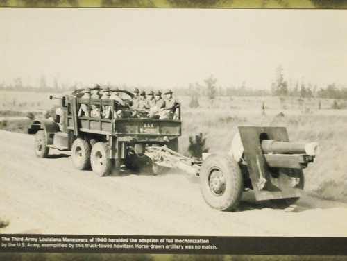 Taken from inside the Fort Polk Museum, this photo depicts troops being moved via vehicle during the Louisiana Maneuvers in 1940. The Army is conducting Project Convergence at Yuma Proving Ground, Arizona, and the commanding general in charge of modernization has called it
