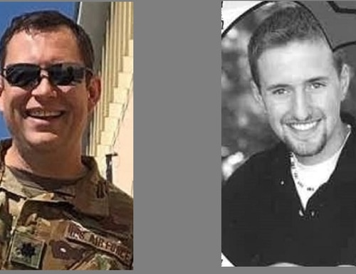 Lt. Col. Paul Voss, left, and Capt. Ryan Phaneuf were killed Jan. 27, 2020 in the crash of their E-11A battlefield communications aircraft in Ghazni province, Afghanistan. (Voss photo via Air Combat Command; Phaneuf photo via Alvirne High School yearbook in Hudson, N.H., courtesy of David Morin)