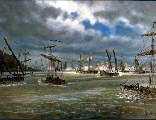 Battle of Valcour Island, naval engagement on Lake Champlain, 11 October 1776. Oil painting, by V. Zveg. (Naval History and Heritage Command)