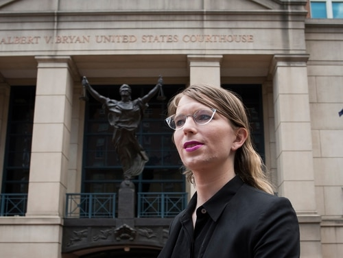Former Army intelligence analyst Chelsea Manning speaks with reporters after arriving at the federal courthouse in Alexandria, Va., Thursday, May 16, 2019. (Cliff Owen/AP)