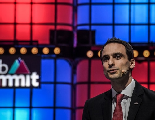 White House CTO Michael Kratsios delivers a speech on the last day of the Web Summit in Lisbon, Portugal, on Nov. 7, 2019. (Patricia de Melo/AFP via Getty Images)
