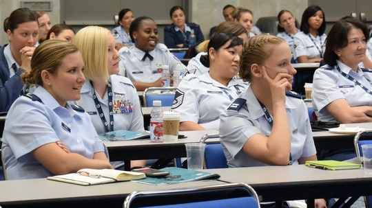 Service members take part in the Joint Women's Leadership Symposium on June 20, 2018, at the San Diego Convention Center. (1st Lt. Annabel Monroe/Air Force)