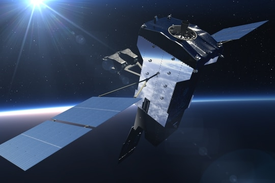 An artist's rendering of the fifth geosynchronous Space Based Infrared System on orbit. Next Generation Overhead Persistent Infrared satellites will replace the legacy system. (Lockheed Martin)