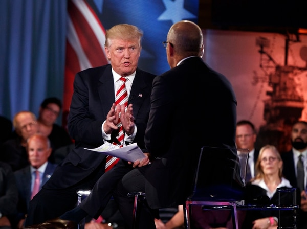 Republican presidential candidate Donald Trump speaks with 'Today' show co-anchor Matt Lauer at the NBC Commander-In-Chief Forum held at the Intrepid Sea, Air and Space museum aboard the decommissioned aircraft carrier Intrepid, New York, Wednesday, Sept. 7, 2016. (AP Photo/Evan Vucci)