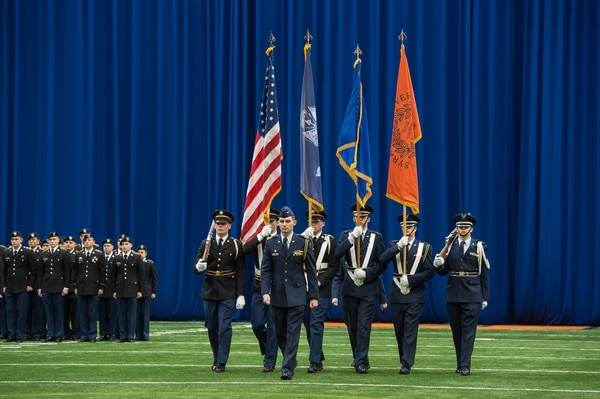 Student veterans at Syracuse University participate in the ROTC Army and Air Force 101st Chancellor's Review in 2018. (Syracuse University)