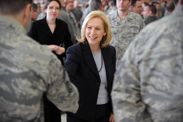 Sen. Kirsten Gillibrand visits New York Air National Guard troops in 2012. She's long been a critic of how the military handles sexual assault and harassment cases. (Army)