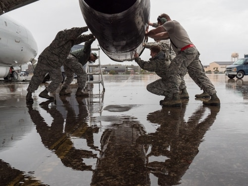 The White House objected to a House draft 2019 NDAA's prohibition on the Air Force nixing the JSTARS recap program. JSTARS technicians work on a thrust reverser on a JSTARS E-8C at Robins Air Force Base, Ga., on Feb. 26, 2018. (U.S. Air National Guard photo.)