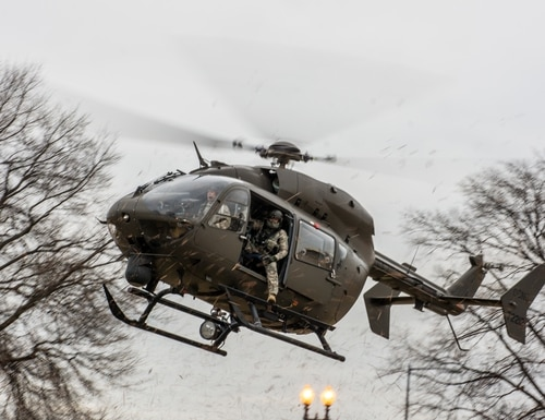 A UH-72A Lakota with the D.C. National Guard lands at the armory in Washington D.C., Jan. 19, 2017. (Staff Sgt. Patrick P. Evenson/Army)