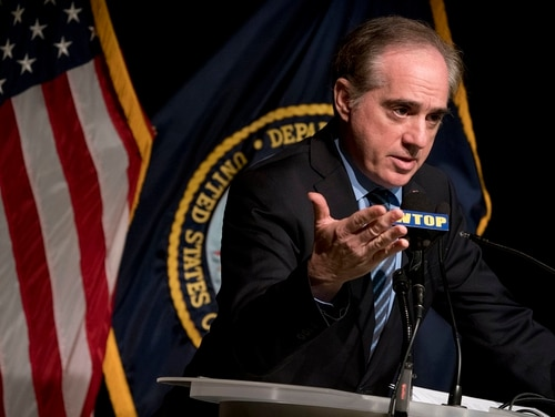 Veterans Affairs Secretary David Shulkin speaks at a news conference at the Washington VA Medical Center in Washington on March 7, 2018. In an interview with Military Times on Friday, Shulkin said he is not upset with President Donald Trump for his dismissal this week. (Andrew Harnik/AP)