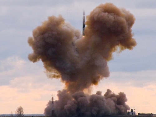 The Avangard hypersonic vehicle blasts off during a test launch at an undisclosed location in Russia. (RU-RTR Russian Television via AP)