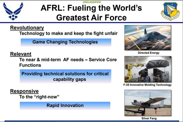 A slide from an Air Force Research Laboratory presentation dated from August 2015 shows the Silver Fang drone, which was deployed to Afghanistan. (Air Force Research Laboratory)