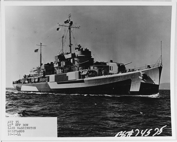 The South Vietnamese frigate Trần Bình Trọng began its existence as the U.S. Navy's Barnegat-class small seaplane tender Castle Rock. After World War II, it was converted into a Coast Guard cutter and later ended up on patrol off the shore of Vietnam. It was turned over to Saigon in 1971 and fought in the Battle of the Paracel Islands less than three years later. When Saigon fell in 1975, the ship escaped to the Philippines, where it became the property of Manila. It ended its service life as the frigate Francisco Dagohoy. (National Archives)