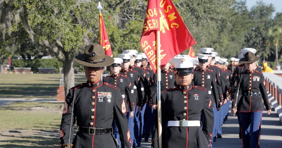 f2d48e95a01af First company graduates in new dress blue uniform for female Marines