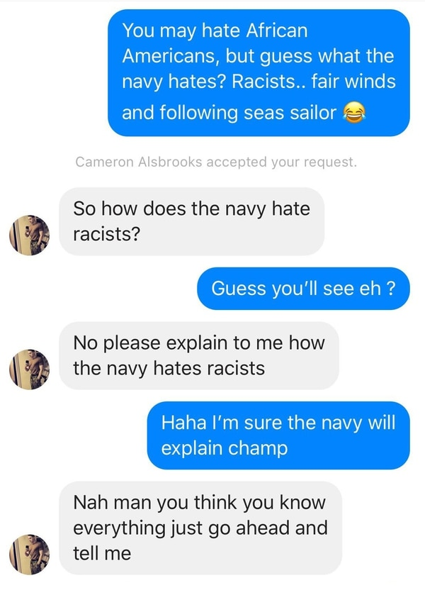 Alsbrooks' alleged Facebook responses to another active-duty sailor. (Screenshot courtesy of sailor)