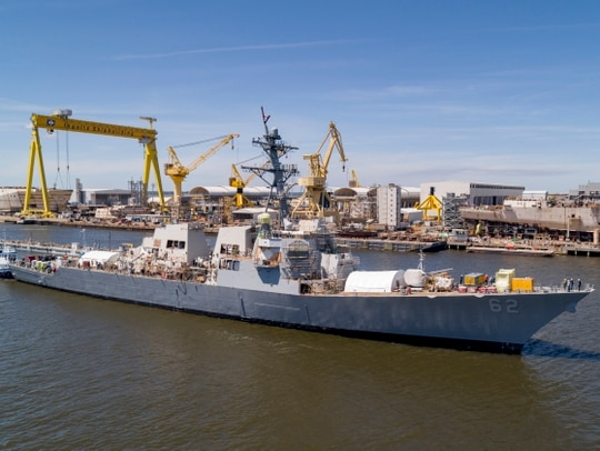 After more than a year in dry dock, the guided-missile destroyer Fitzgerald returned to the water Tuesday. (Navy)