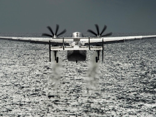 A C-2A Greyhound launches from the flight deck of the aircraft carrier USS Dwight D. Eisenhower in the Atlantic Ocean, Jan. 31, 2016. The Eisenhower is preparing for an inspection and upcoming carrier qualifications. Petty Officer 3rd Class Anderson W. Branch/Navy)