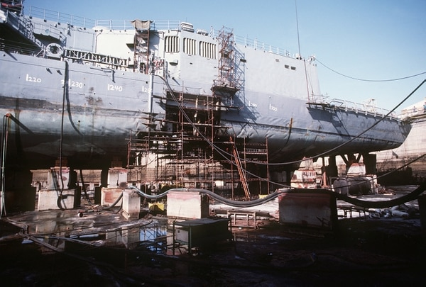 A port view of the guided missile frigate USS SAMUEL B. ROBERTS (FFG-58) in dry dock for temporary repairs. The frigate was damaged when it struck a mine while on patrol in the Persian Gulf.
