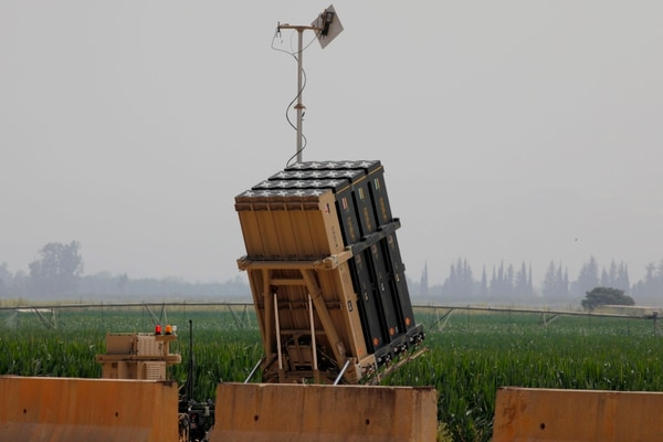 An Israeli Iron Dome system, designed to intercept and destroy incoming short-range rockets and artillery shells, is shown in the Hula Valley in northern Israel near the border with Lebanon, on July 27, 2020. (Jalaa Marey/AFP via Getty Images)