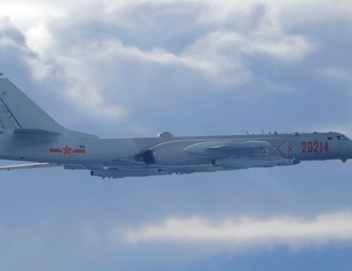 A Chinese People's Liberation Army H-6 bomber is seen flying near the Taiwan air defense identification zone on Sept. 18, 2020. (Taiwan Ministry of National Defense via AP)