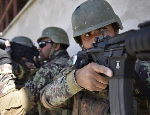 Afghan soldiers train at the the Afghan National Army Special Operations Command's School of Excellence in Afghanistan April 10, 2018. (Master Sgt. Felix Figueroa/Army)