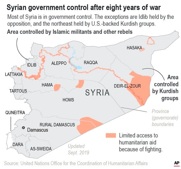 Most of Syria has returned to government control after eight years of war.