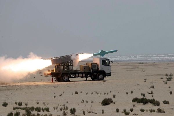 In this photo provided June 18, 2020, by the Iranian Army, a missile is launched during a naval exercise. (Iranian Army via AP)