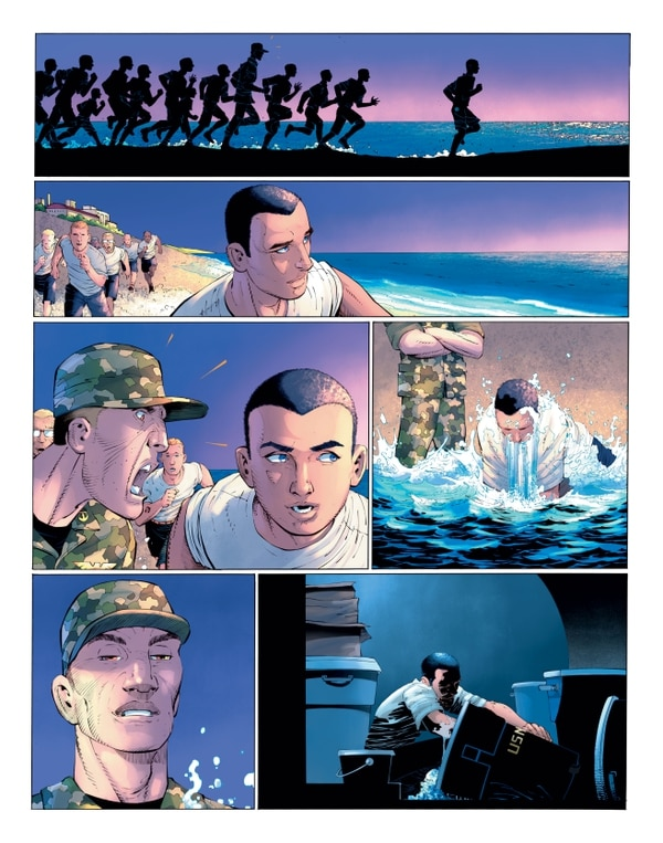 "Clark Kent on Seal Beach, alternate universe origin comic panels from ""Superman Year One,"