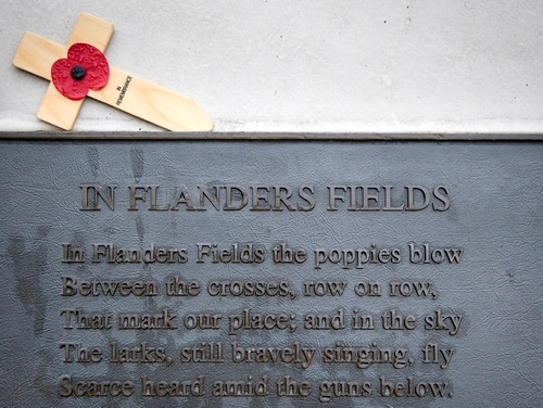 In this photo taken on Nov. 12, 2013, a red poppy on a wooden remembrance cross lays above a bronze plaque which contains the poem In Flanders Fields by World War I Canadian soldier John McCrae at the Essex Farm Commonwealth Cemetery on in Ypres, Belgium. McCrae, a doctor who had been treating wounded men in the field, saw that the resilient red corn poppy was the first plant to flourish in the churned-up landscape. The poem, penned shortly after McCrae buried a friend, soon became one of the most well-known wartime verses and sowed the seeds of the poppy's symbolism in the English-speaking world. (Virginia Mayo/AP)