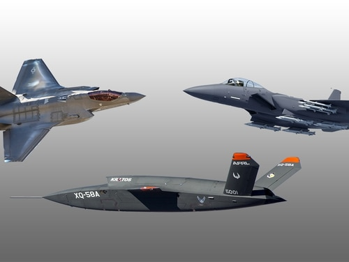 The Air Force is assessing whether it can use the Skyborg artificial intelligence technology it is creating to allow an F-35 or F-15EX pilot to control drones like the XQ-58 Valkyrie. (Jeff Martin/Staff)