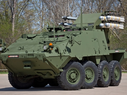 The Boeing-General Dynamics Land Systems Maneuver SHORAD Launcher Stryker. (Courtesy of Boeing and GDLS)
