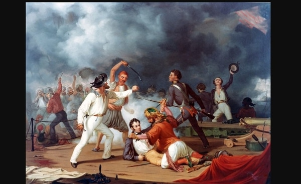 "Stephen Decatur's Conflict with the Algerine at Tripoli during the boarding of a Tripolitan gunboat on 3 August 1804. Oil over print on canvas, 30"" x 25"", by an unidentified artist, after Alonzo Chappell (1829-1887). Painting in the U.S. Naval Academy Museum Collection. Gift of Chester Dale, 1942"