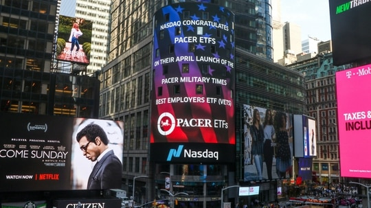 Nasdaq announced the new index fund, based on the Best for Vets Employers rankings, on a billboard overlooking Times Square in April. (Nasdaq)